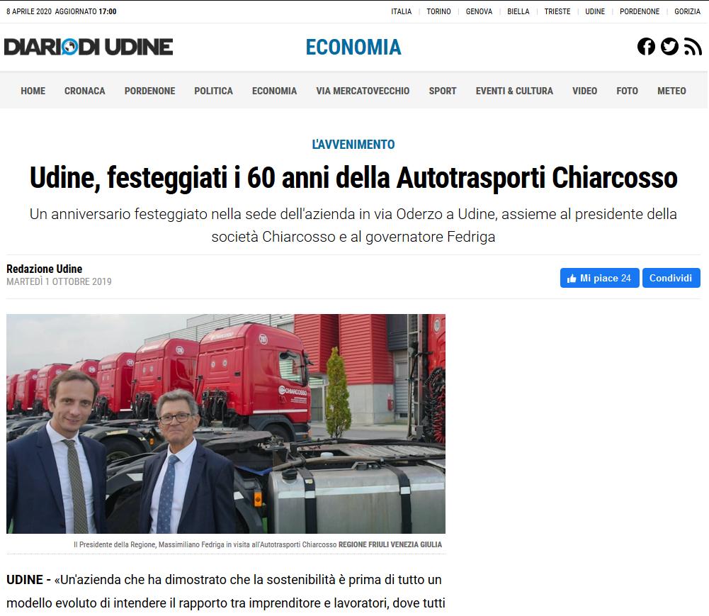 Il Presidente del Friuli Venezia Giulia visita la sede in occasione del 60° anniversario dell'azienda.